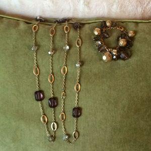Fun long necklace and bracelet set